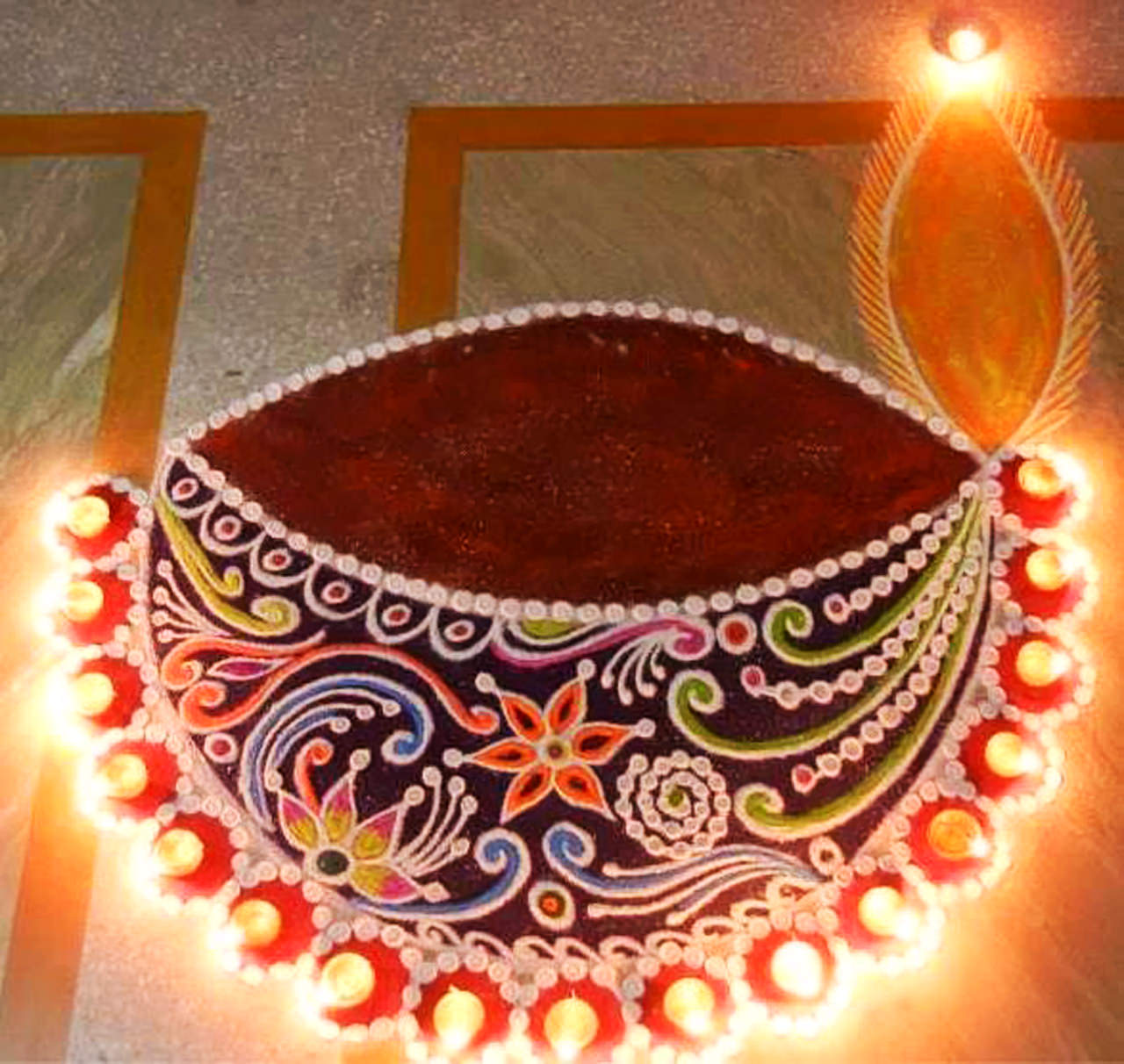 Diwali Diya Rangoli Photo