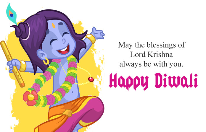 Diwali Lord Krishna Blessing Wishes Pics
