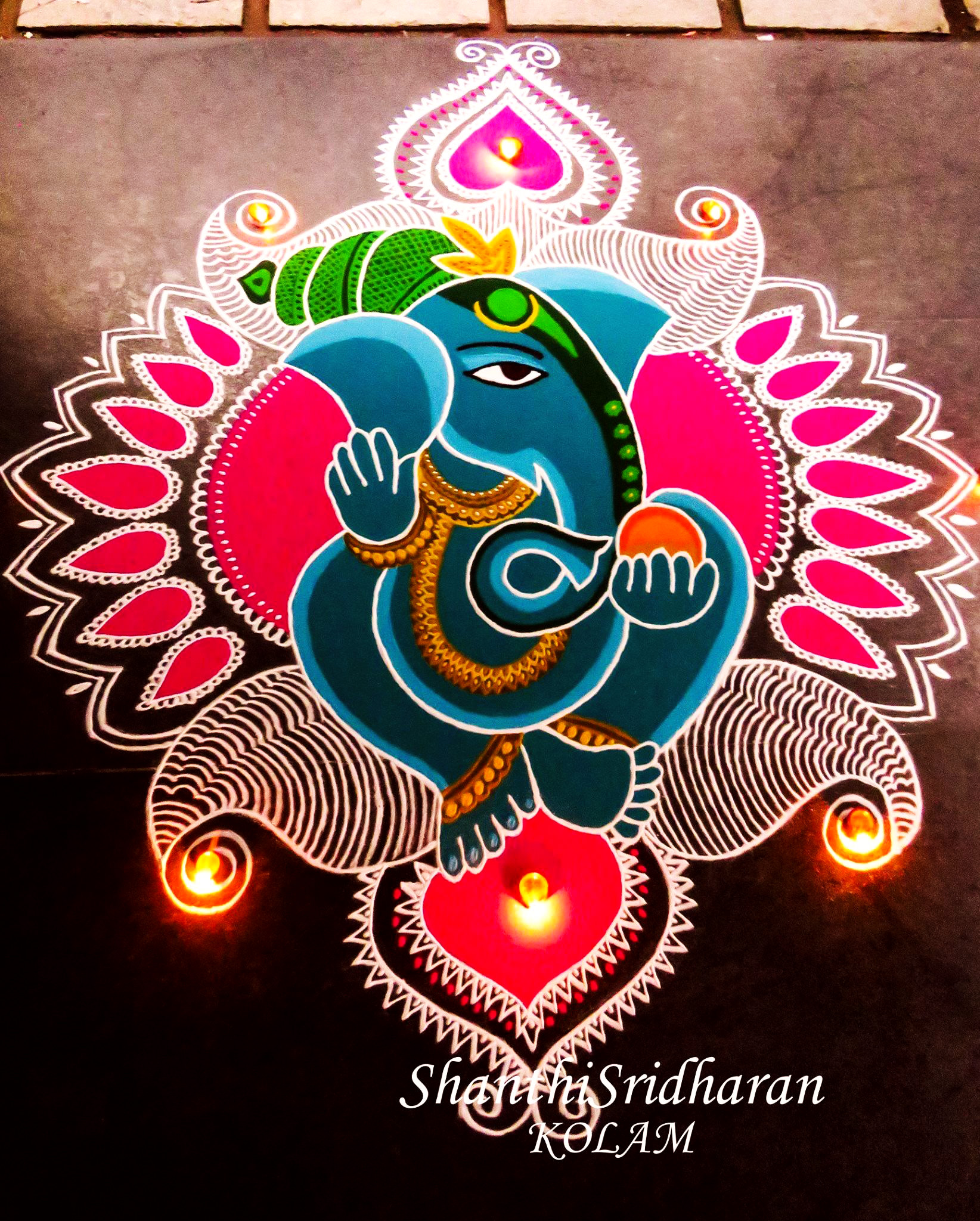 Ganesh Rangoli Design for Diwali Competition