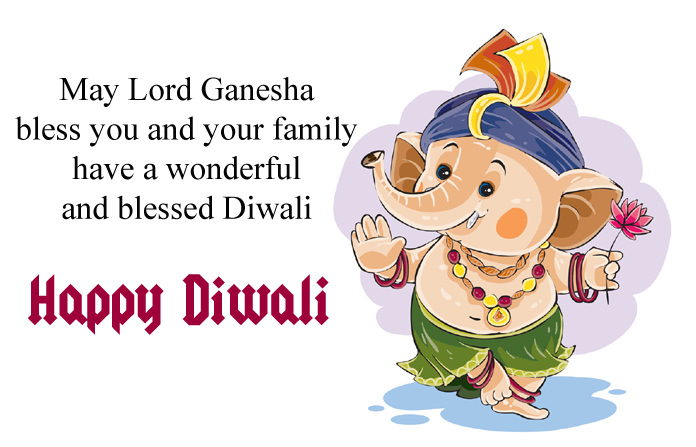 Happy Diwali Greeting in English with Ganesha