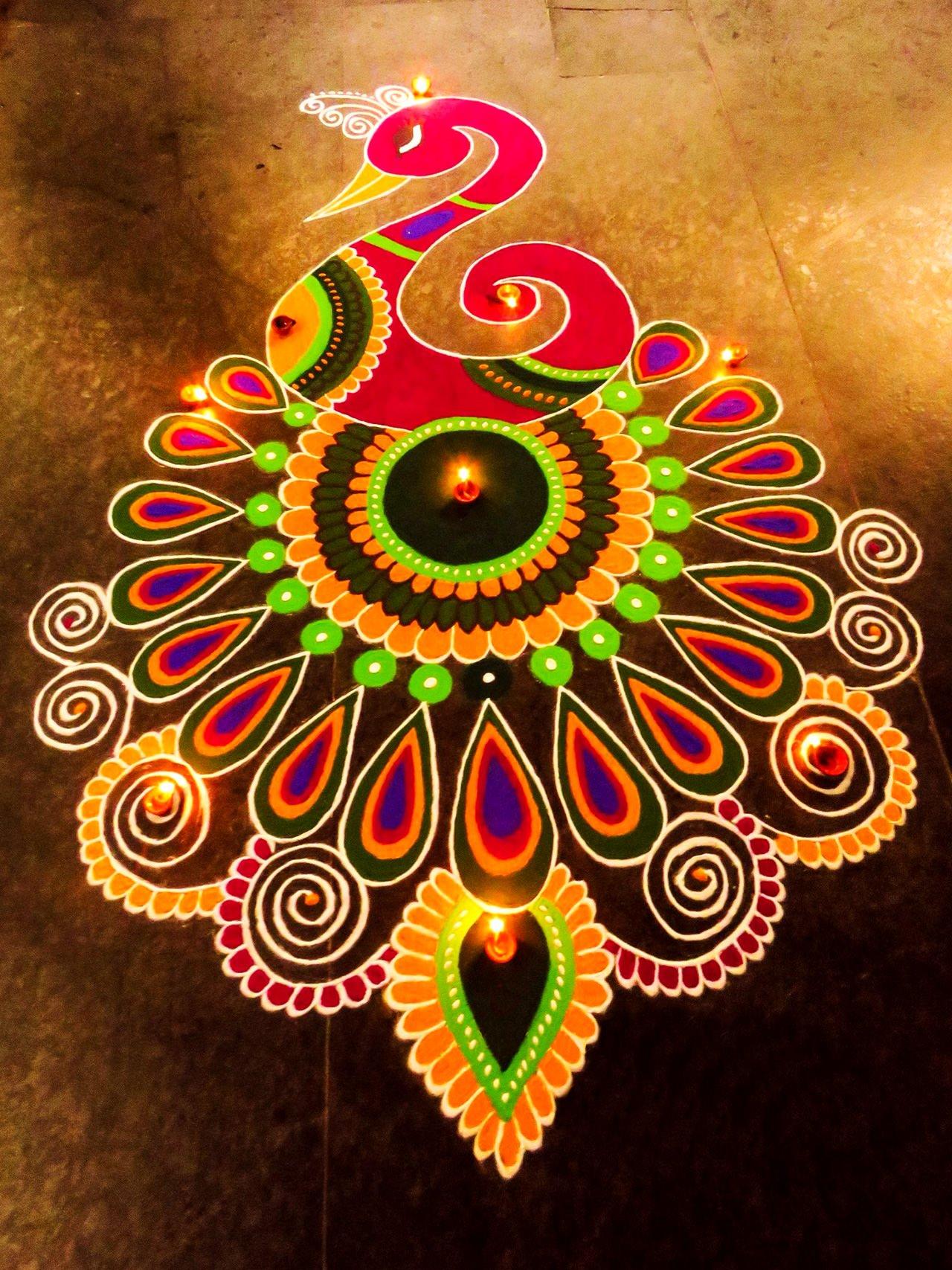 Peacock Colorful Rangoli Designs