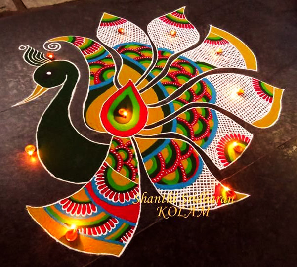 Peacock Rangoli Design for Diwali Competition