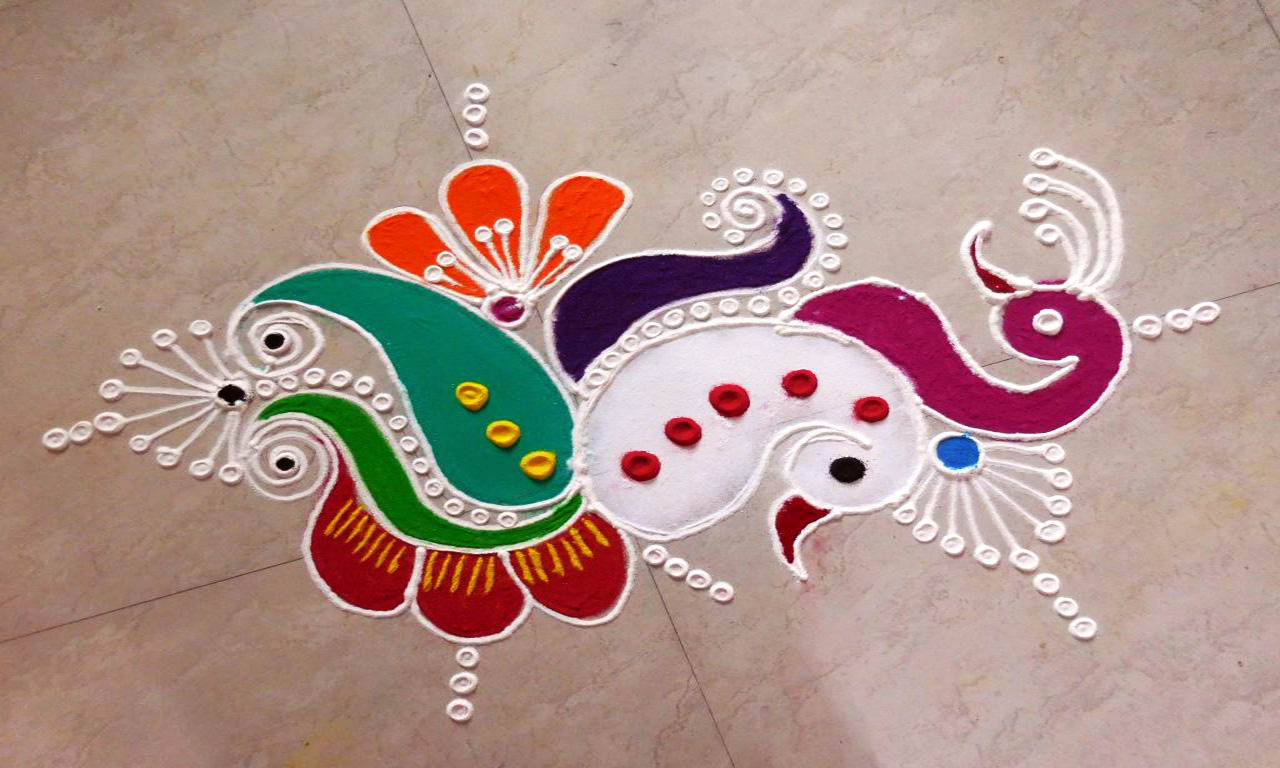 Peocock Rangoli Images for Diwali