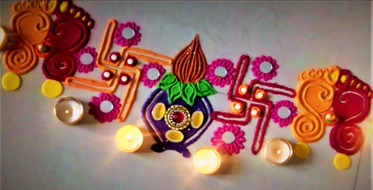Shubh Labh Rangoli Design for Door and Welcome