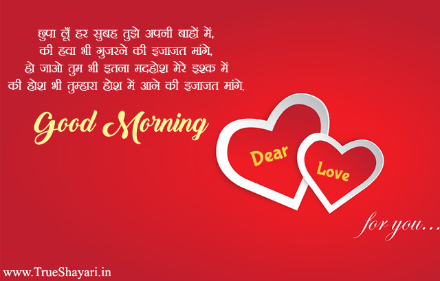 Romantic good morning wishes for gf bf couple, Hindi love shayari images