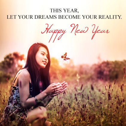 Cute Girl on New Year with Beautiful Thought