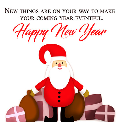 Cute Santa on New Year with Quotations