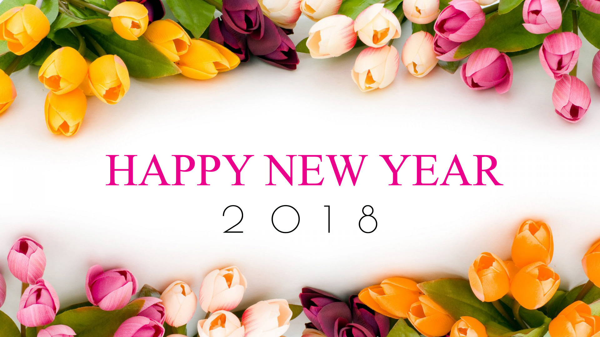 happy new year 2018 flowers wallpaper