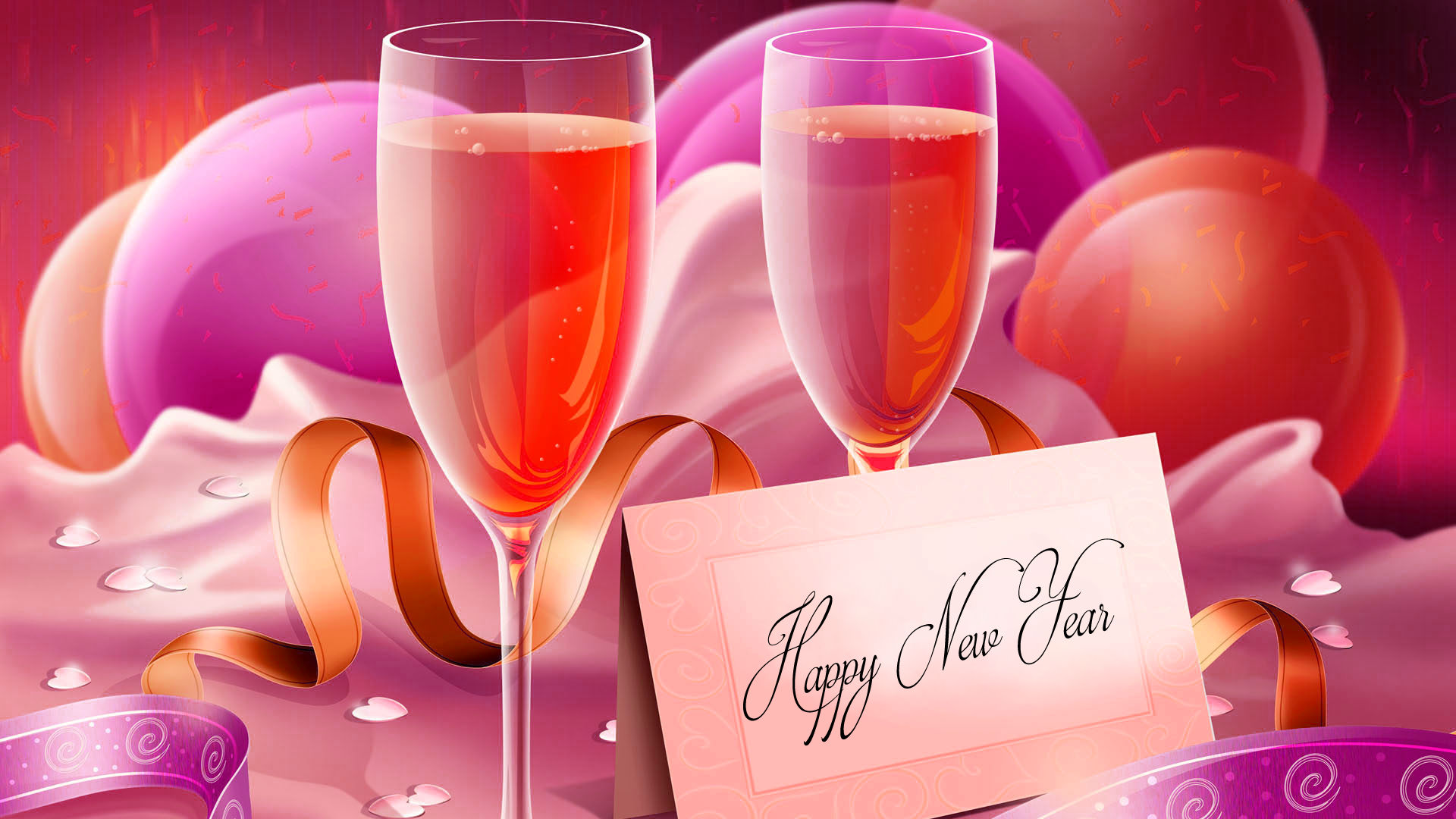 happy new year wallpapers with wine glasses