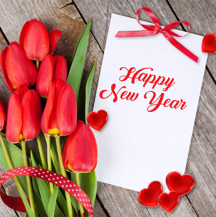 Happy New Year with Flowers