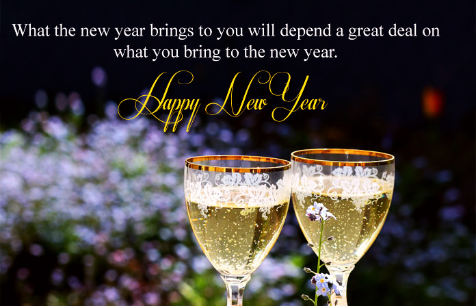 New Year English Quote with Wine Glass