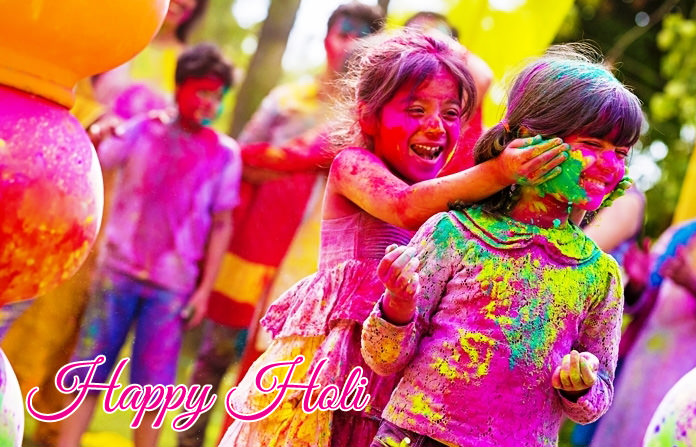Colorful Kids Playing Holi Festival