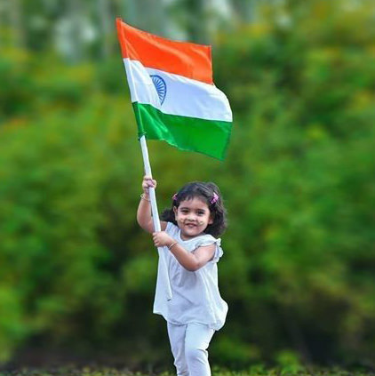 Cute Baby Girl with Indian Flag