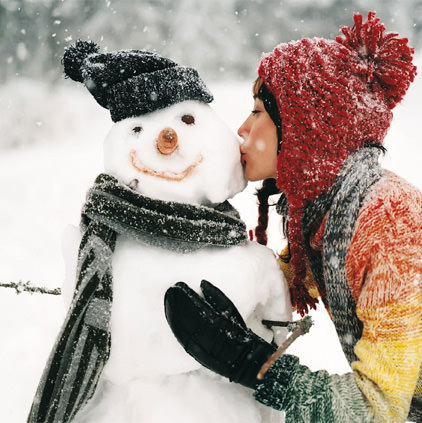 Winter Girl with Snowman