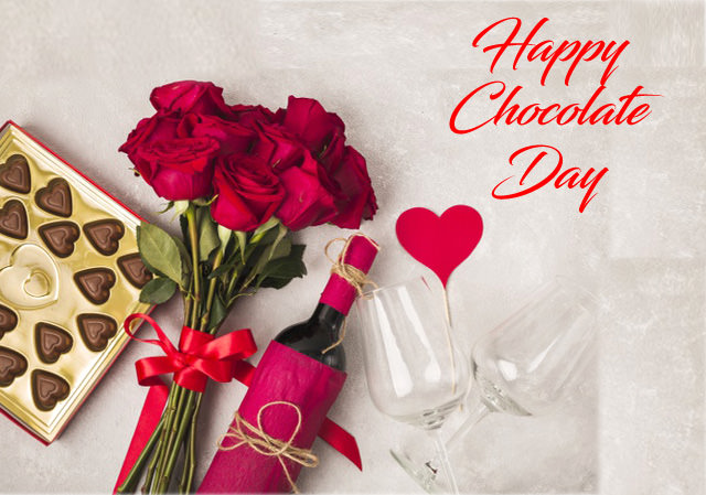 Happy Chocolate Day Wishes with Flowers Red Wine