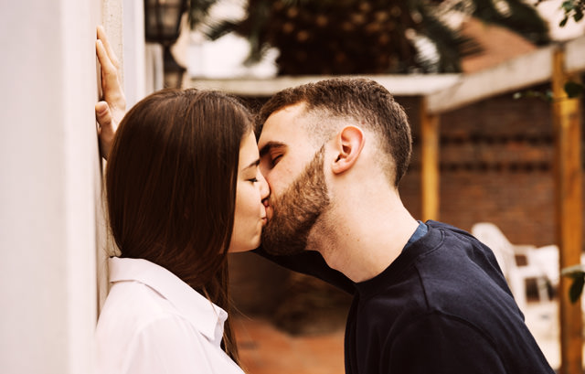 Passionate Cute Couple Kissing