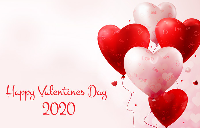 Red White Heart Shape Balloons Valentine 2020