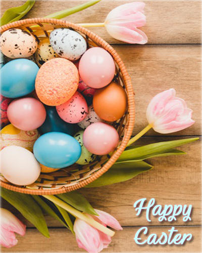 Easter Images with Eggs and Flowers