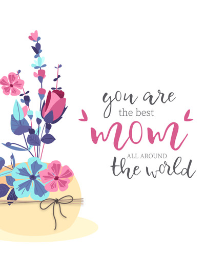 Mom Day Pic in Stylish Font Greeting