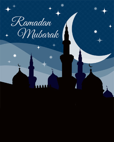 Beautiful Ramadan Mubarak Night Moon Pic