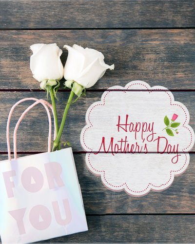 Happy Mother Day Greeting with White Flower