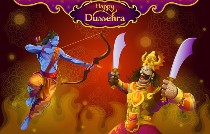 Evil Face Rawan and Killing Lord Rama Dussehra Pic