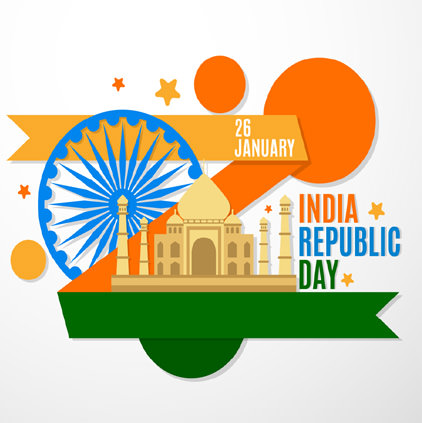 Republic Day Image with Taj Mahal Ashok Stambh
