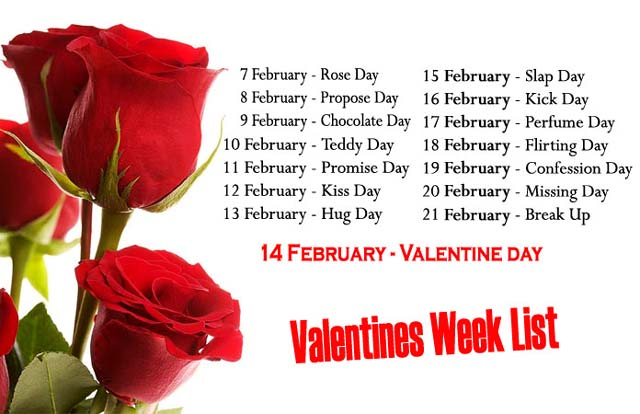 7 to 21 Feb Valentine Week List - Anti Valentine Week Chart