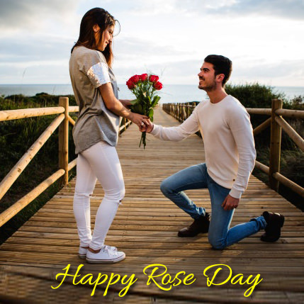 Boy Proposing To Girl with Rose on Rose Day