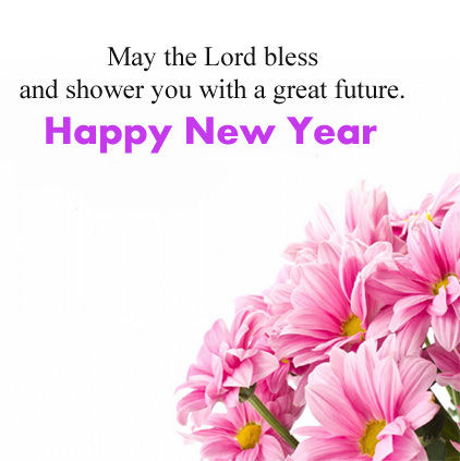 Flowers in Pink Color with English New Year Wish Msg