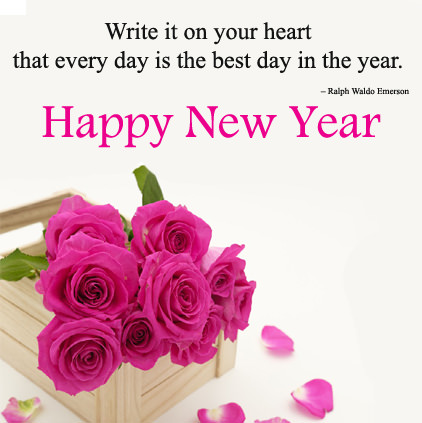 Happy New Year Flower Image with Quotes
