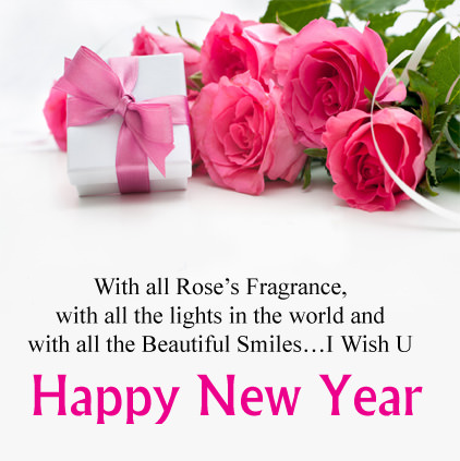 Happy New Year Flower Images with English Lines