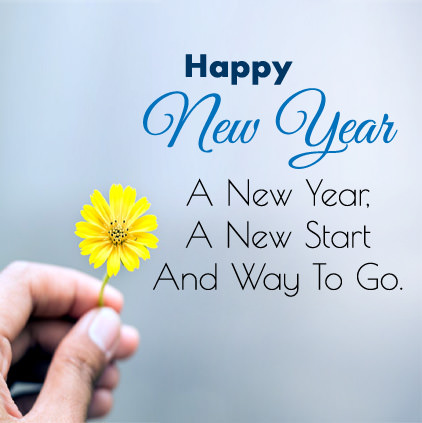 Happy New Year Status Wishes with Single Yellow Flower