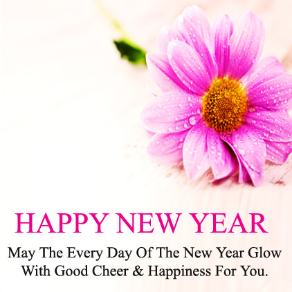 New Year Messages in English with Flower