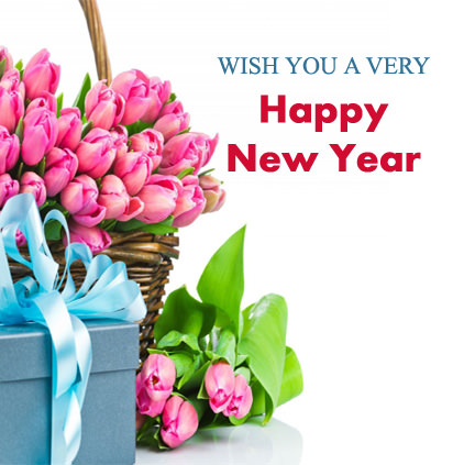 New Year Wishes with Pink Tulip Roses