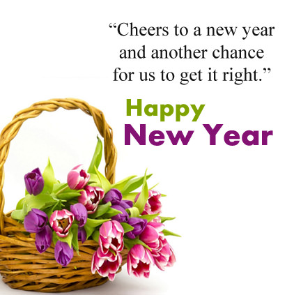 Purple and Pink Roses Wishes for NEw Year with Quote