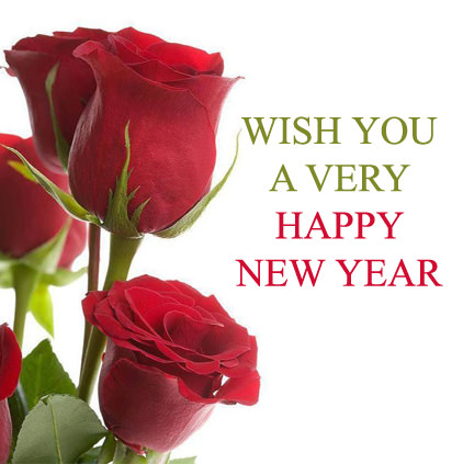 Wish you a very Happy New Year with Red Single Roses